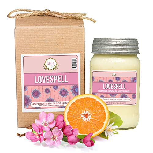 Aira Soy Candles - Organic, Kosher, Vegan, in Mason Jar w/Therapeutic Grade Essential Oil Blends - Hand-Poured 100% Soy Candle Wax - Paraffin Free, Burns 110+ Hours - Love Spell -16 Ounces