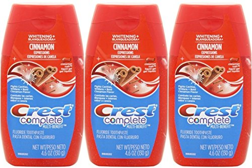 Crest Complete Whitening Plus Expressions Cinnamon Rush Liquid Gel Toothpaste 4.6 oz., (Pack of 3)