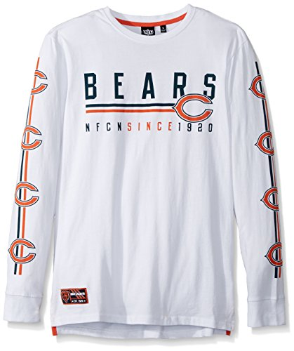 Chicago Bears Crew Shirt - Icer Brands NFL Men's Chicago Bears T-Shirt Active Light Long Sleeve Tee Shirt, X-Large, White