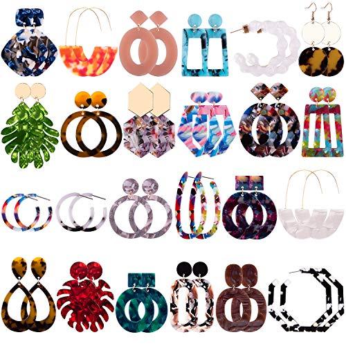 Duufin 24 Pairs Mottled Acrylic Earrings Resin Drop Dangle Earring Hoop Statement Earrings Polygonal Bohemian Fashion Jewelry Earrings for Women Girls