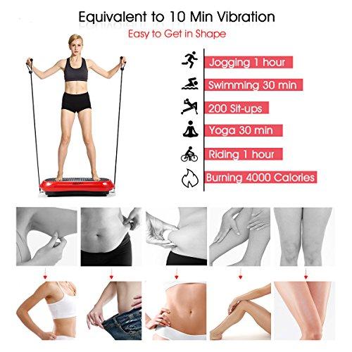 GENKI YD-1010B-R Ultra Slim Vibration Machine Plate Platform Whole Body Shaper Trainer Exercise Red by GENKI (Image #2)
