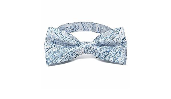 TieMart Boys Navy Blue Clara Paisley Bow Tie