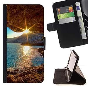 For HTC One A9 Case , Sunset Beautiful Nature 30- la tarjeta de Crédito Slots PU Funda de cuero Monedero caso cubierta de piel
