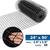 Fencer Wire 16 Gauge Black Vinyl Coated Welded Wire Mesh Size 1.5 inch by 1.5 inch (2 ft. x 50 ft.)