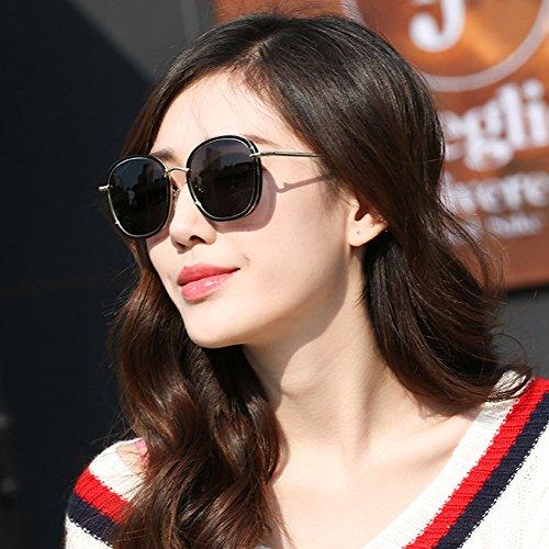 de del Manera polarizadas negr Negra Redondas Grande Coreano la Gafas Caja Marco ZZ Sol de qXfFAw