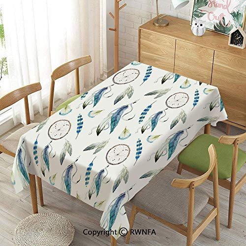 Homenon 100% Polyester Tablecloths for Rectangle Tables,Aztec Exotic Feathers Dreamcatchers Traditional Folk Watercolor Boho Art,Indoor Outdoor Camping Picnic,Violet Blue Pale Green,52