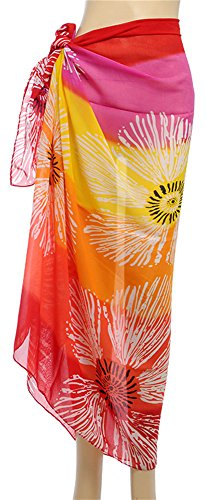 Women Beach Sarong Wrap Swimsuit Bikini Cover Up Summer Shawl Scarf Flower