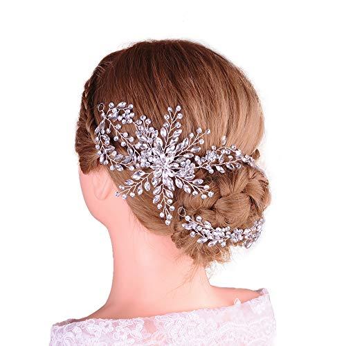 Azaleas Vintage Wedding Hair Accessories for Brides Crystal Simulated Pearl Bridal Hair Comb Women(HP242-4-13-8)