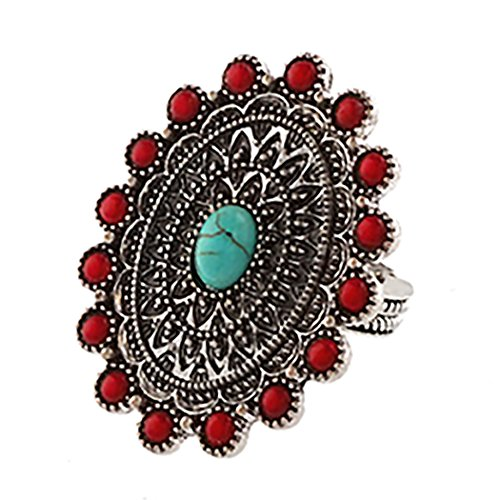 Rosemarie Collections Women's Southwest Jewelry Turquoise Statement Stretch Ring (Red and - Center South Macys