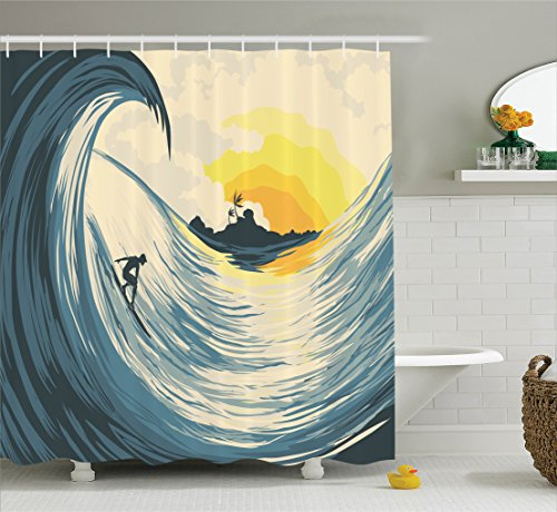 Ocean Decor Shower Curtain Set By Ambesonne, Illustration Of Cloudy Sky Tropical Island Wave And Surfer At Sunset Seascape, Bathroom Accessories, 69W X 70L Inches, Beige Yellow (Surfer Shower Curtains)