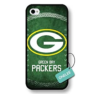 Onelee(TM) - NFL Team Logo iPhone 4 case - Custom Personalized Green Bay Packers Hard Plastic iphone 4S Cover - Black12