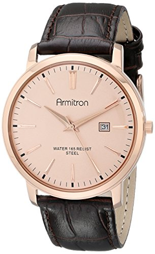 Armitron-Mens-205012RGRGDB-Date-Function-Rose-Gold-Tone-Dial-Dark-Brown-Croco-Grain-Leather-Strap-Watch
