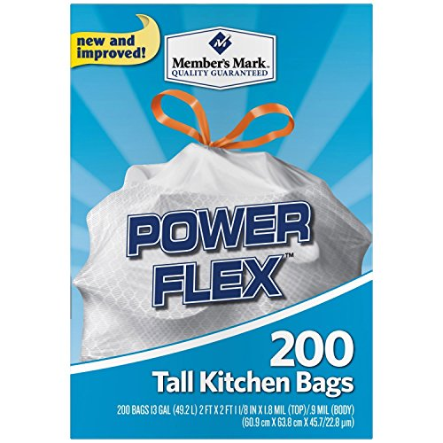 Member's Mark Power Flex Tall Kitchen Simple Fit Drawstring Bags (13 gal., 200 ct.) - Trash Bags (Simple Drawstring)