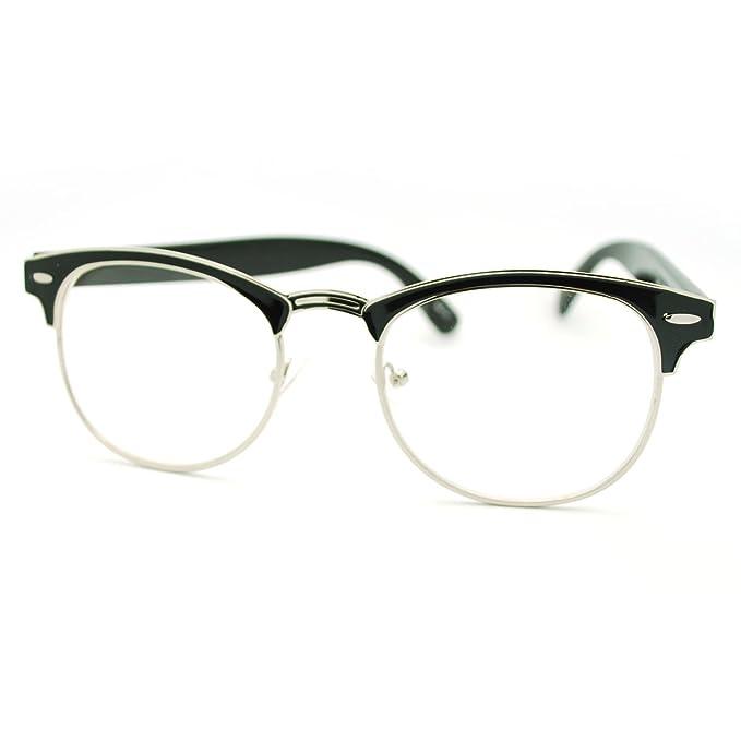 Amazon.com: Ronda Keyhole Claro lente Clubmaster anteojos ...