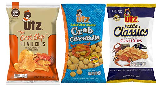 Utz Quality Foods Famous Crab Flavored Snack Variety 3-pack (1 Bag of - Chip Crab