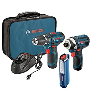 Bosch 12-Volt 2-Tool Combo Kit (Drill/Driver and Impact Driver) with two 12-Volt Lithium-Ion Batteries, 12V Charger,Carrying Case and LED Worklight