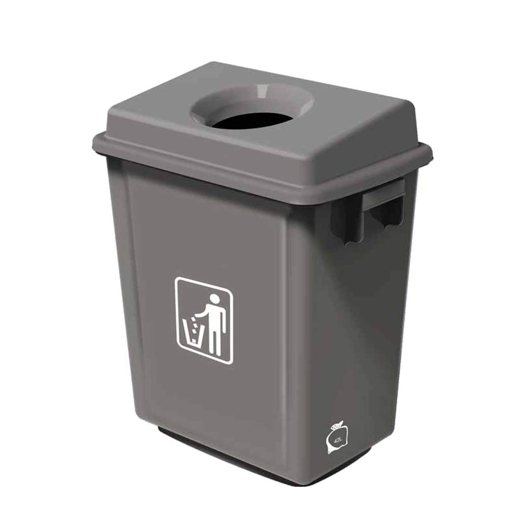 JTWJ 大型ゴミ箱、家庭用トイレのゴミ箱、業務用ゴミ箱、サイズ:40.5 x 27 x 56 CM、42 L (色 : グレイ ぐれい)  グレイ ぐれい B07RSGCVMT