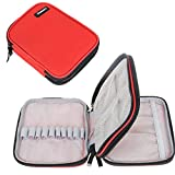 Damero Crochet Hook Case, Organizer Zipper Bag with Web Pockets for Various Crochet Needles and Knitting Accessories, Well Made, Small Volume and Easy to Carry, Red (No Accessories Included)