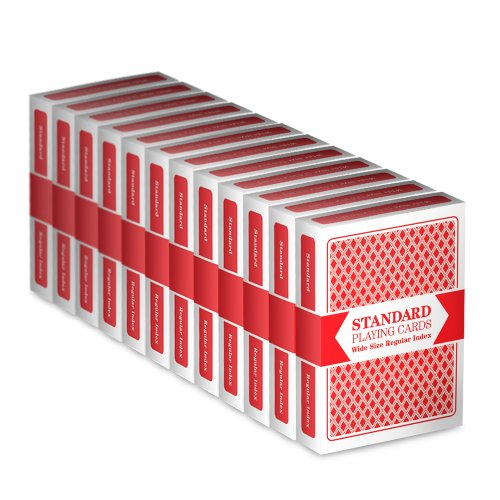 12 Red Decks, Wide Size, Regular Index Playing Cards