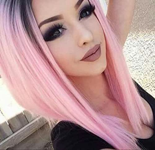 AISI HAIR Ombre Pink Wigs Straight Short Length Wigs for Women Middle Part Wigs Dark Roots Heat Resistant Synthetic Wigs