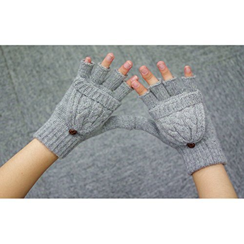 UEETEK Women Winter Warm Wool Knitted Convertible Fingerless Gloves With Mitten Cover (Grey)