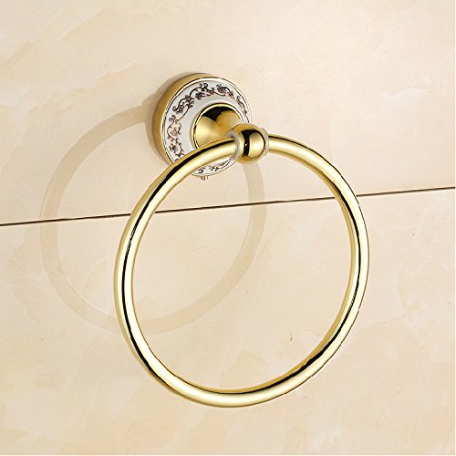 I-Choice Gold Polished Towel Rings Antique style Wall Mounted luxury Gold Copper Bathroom Towel Ring Round Towel Holder bath rack hanging
