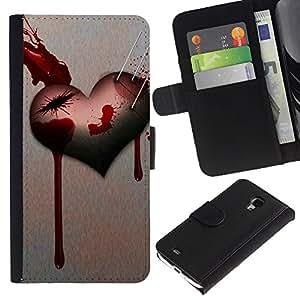 KingStore / Leather Etui en cuir / Samsung Galaxy S4 Mini i9190 / Corazón del amor de Goth