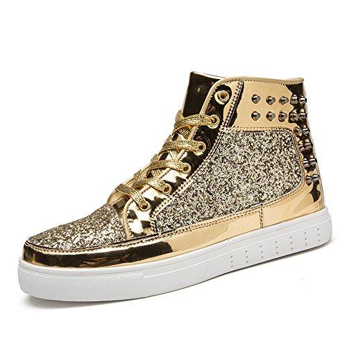 Men Gold Shoes (SITAILE Men Women Rivet High-Top Shoes Glitter Fashion Sneakers Gold 44)