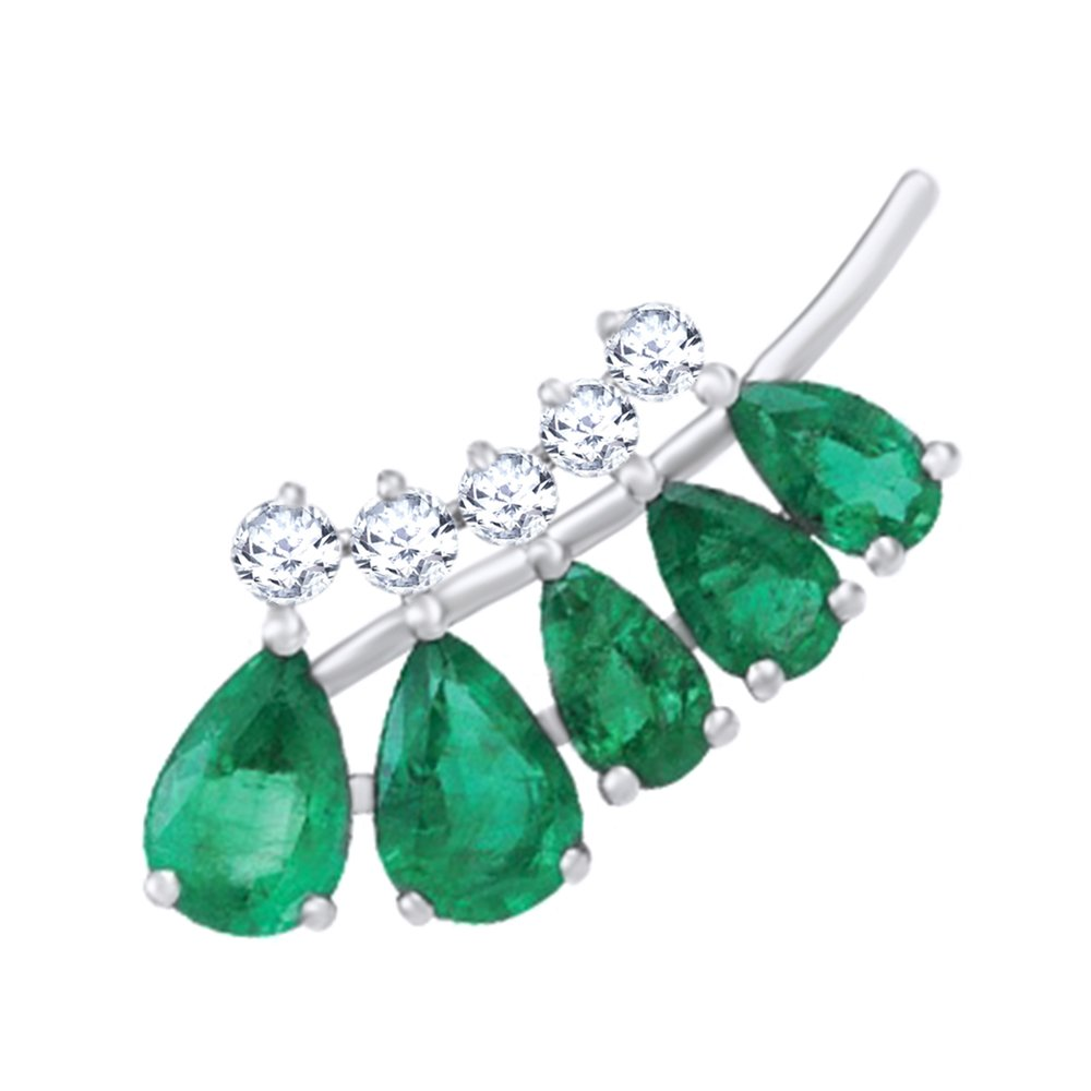 Simulated Emerald with Diamond Accent Single Earring in 14K Solid White Gold