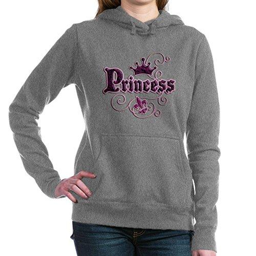 Royal Lion Women's Hooded Sweatshirt Dk Fleur De Lis Princess - Charcoal Heather, XL