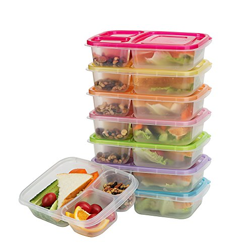 Bento Lunch Boxes, 3-Compartment Meal Prep Containers with Lids, Food Storage Containers, 7 Pack BPA Free Food Lunch box, LeakProof, Reusable, Stackable, Microwave, Freezer and Dishwasher Safe ()