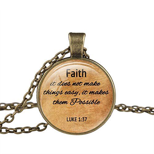 FM42 Bronze-tone Faith & Possible Christian The Bible Religious Inspirational Quote Pendant Necklace (Thing 1 And Thing 2 Costume Ideas)