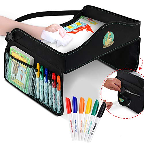 Play Tray Kids Travel Tray with Dry Erase Top for Snacks amp Car Activities for Toddlers  Dry Erase Markers Gift  Child Car Seat Tray for Travel by Car and Plane | Road Trip Essential by BabySeater
