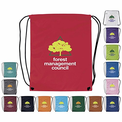 100 Promotional Drawstring Backpack Printed with your Logo or Message by Ummah Promotions