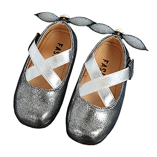 Toddler Girl Cross Strap Sparkly Shiny Princess Mary Jane Ballet Flat Dress Shoe with Heel Bowknot Silver Size (Sparkly Girls)