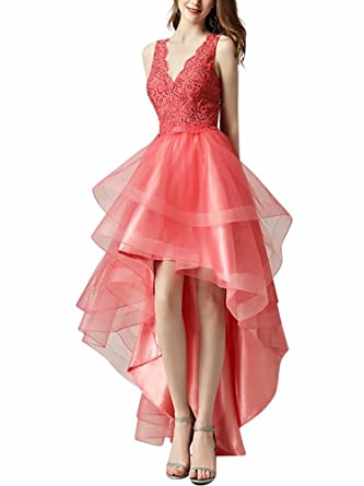A Line Sequined Tulle Homecoming Dresses Hi Low Prom Dresses Formal Party Gowns for Juniors