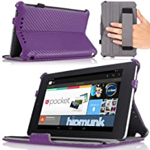 Google Nexus 7 Case - MoKo Slim-fit Cover Case for Google Nexus 7 Android Tablet by Asus, Carbon Fiber Purple (with Automatic Sleep/Wake Function, and Elastic Hand Strap)