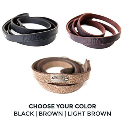 Image of Mighty Paw Leather Dog Leash, Super Soft Distressed Leather- Premium Quality, Modern Stylish Look