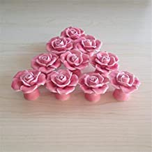 SunKni 41mm 10Pcs Rose Flower Floral Knobs Ceramic Drawer Handles Pulls for Wardrobe Cupboard Dresser Cabinet Closet Kitchen Furniture with Free Screws New Sets Pack of 10 (Pink)