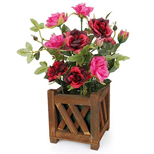 Pink Wedding Red Flowers (RERXN Artificial Potted Rose Pastral Style Fake Flowers Silk Flowers Arrangement Home Wedding Party Decor (Red))