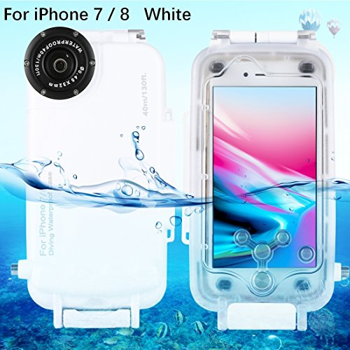 HAWEEL iPhone 7/ 8 Underwater Housing Professional [40m/ 130ft] Diving Case for Surfing Swimming Snorkeling Photo Video No Reflection + Lanyard (iPhone 7/ 8, White)