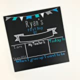 Personalized First day of School Chalkboard Sign- Grey/Turquoise