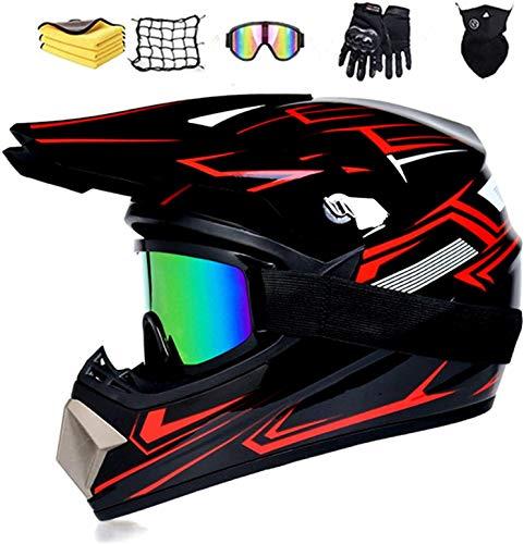 Motorhelm Motocross Helm Kinderen Rood Zwart, Kinderen Crosshelm D.O.T Standaard Kids Quad Bike ATV Go-Kart-helm…