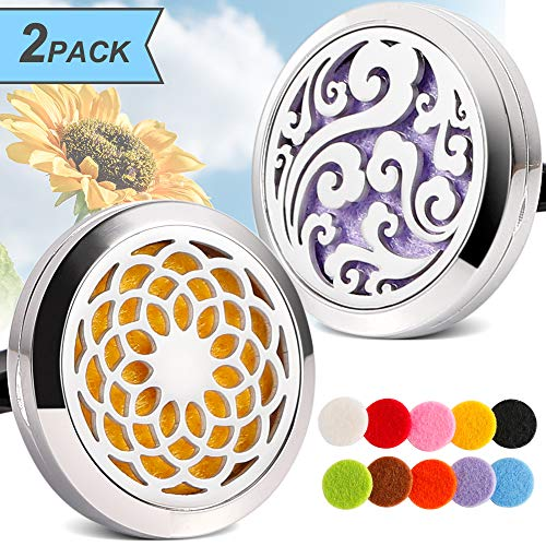 2PCS Aromatherapy Essential Oil Car diffuser Vent Clip Stainless Steel Diffuser Locket - Sunflowr, Cloud
