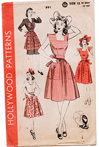 Hollywood 891 Vintage Apron Pinafore Bow and Bonnet Sewing Pattern Misses Size 12 Bust 33
