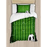 Lunarable Boy's Room Duvet Cover Set Twin Size, Green Grass Field Soccer Playground with the Ball Scheme Stripes Strategy, Decorative 2 Piece Bedding Set with 1 Pillow Sham, Green Black White