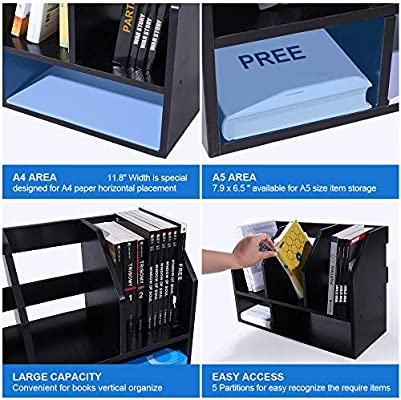 Desktop Bookshelf Wood Tabletop Bookcase 2 Tier Desk Storage Organizer Shelf Rack Book Stand File Holer Countertop with 5 Compartment for Home Office A4 A5 Paper Vertical Horizontal Display Black