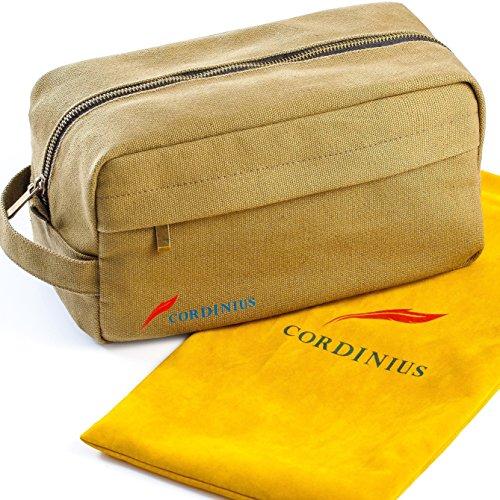 "CORDINIUS Men's Toiletry Bag Canvas - Shaving & Grooming Dopp Kit, 10"" x 5"" x 5.5"", Army Green - Comes with Velvet Drawstring Bag & E-book (Compartment Main Drawstring Has)"