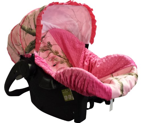 Infant-Car-Seat-Cover-Baby-Car-Seat-Cover-Slip-Cover-Pink-Camo-Fuchsia-Minky
