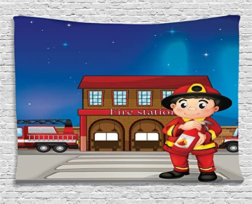 Lunarable Fireman Tapestry, Cartoon Illustration of a Fire Station with a Firefighter Holding an Extinguisher, Wide Wall Hanging for Bedroom Living Room Dorm, 80 X 60 , Multicolor